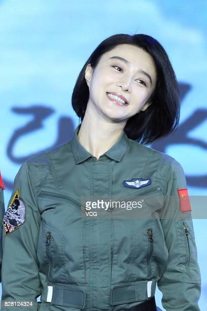 Actress Fan Bingbing attends a press conference of her boyfriend director Li Chen's film 'Sky Hunter' on August 9 2017 in Beijing China
