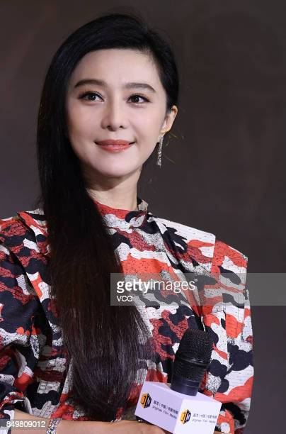 Actress Fan Bingbing attends a press conference of her boyfriend director/actor Li Chen's film 'Sky Hunter' on September 19 2017 in Shanghai China