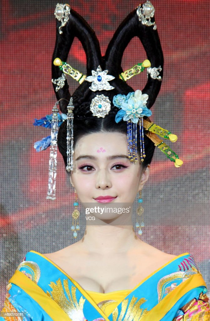 Actress Fan Bingbing attends television drama series 'Empress Wu Zetian' press conference at Juna Hotel on February 13, 2014 in Wuxi, China.