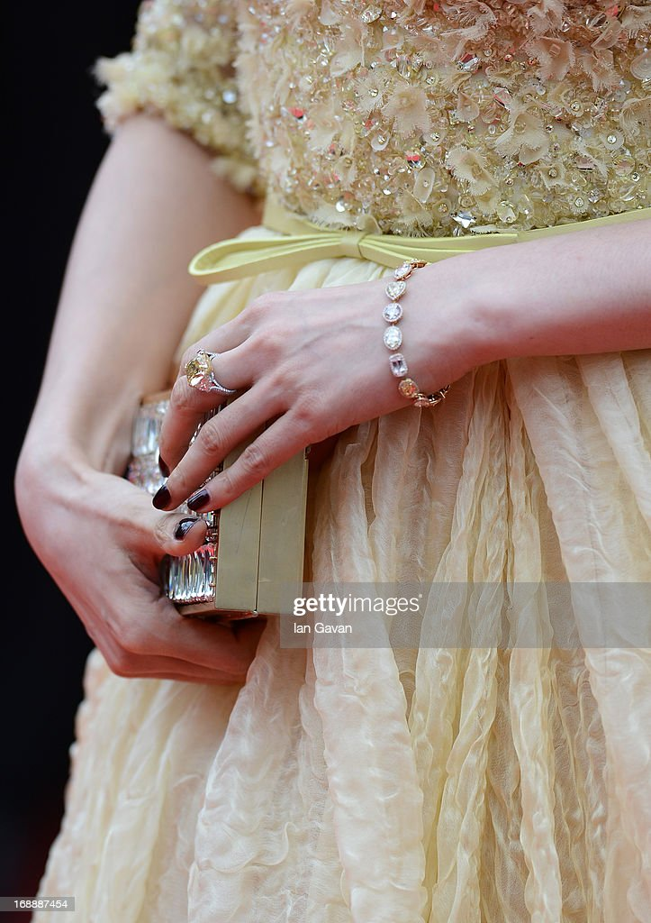 Actress Fan Bingbing (bag detail) attends the 'Jeune & Jolie' premiere during The 66th Annual Cannes Film Festival at the Palais des Festivals on May 16, 2013 in Cannes, France.