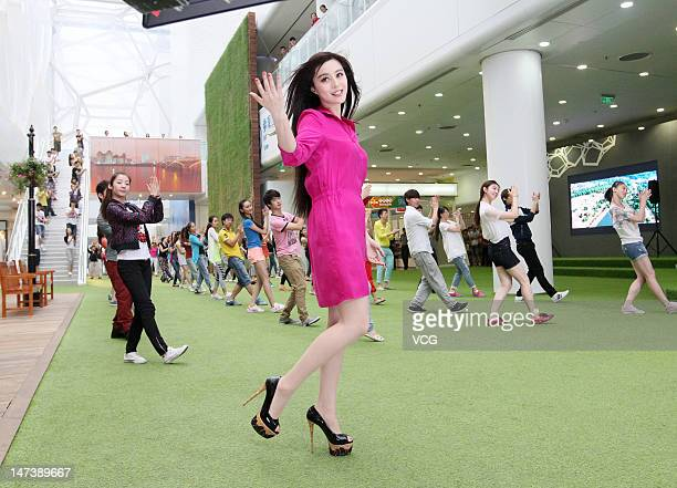 Actress Fan Bingbing is seen filming the music video for the Olympic Song 'Best Wishes From Beijing' beside the Beijing National Aquatics Centre...