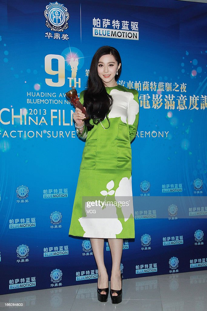 Actress Fan Bingbing poses backstage during 2013 Huading Awards Ceremony at Kowloonbay International Trade and Exhibition Centre on April 10 2013 in...
