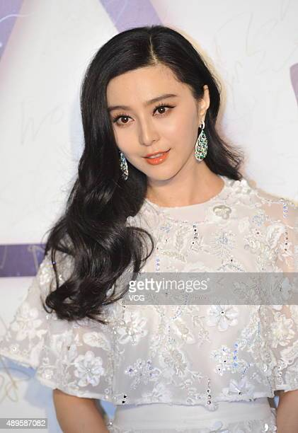 Actress Fan Bingbing poses on the red carpet during the Zhang Shuai 2016 S/S Collection Haute Couture at National Agricultural Exhibition Center on...