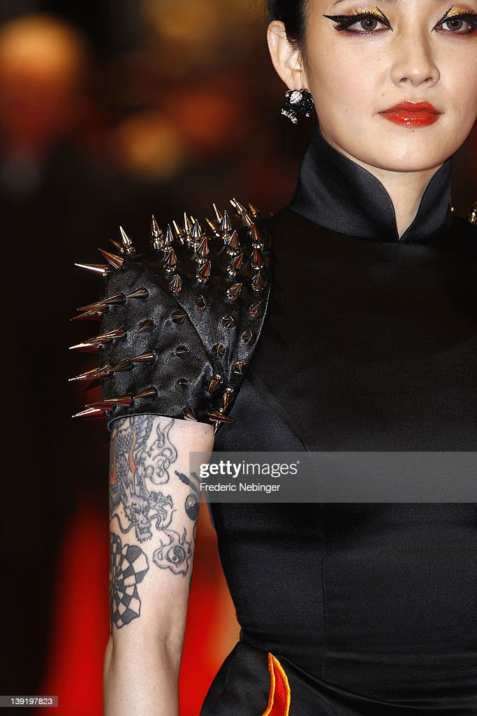 Actress Fan Hsiao Shuan(tattoo and dress detail) attends the 'Flying Swords Of Dragon Gate' Premiere during day nine of the 62nd Berlin International Film Festival at the Berlinale Palast on February 17, 2012 in Berlin, Germany.