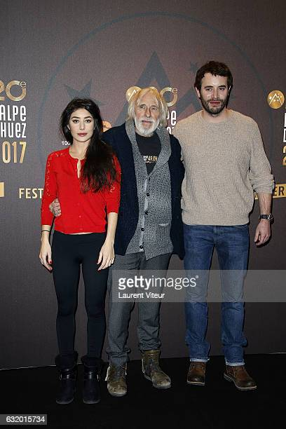 Actress Fanny Valette Actor Pierre Richard and Actor Yaniss Lespert attend 'L'Ascension' Photocall during tne 20th L'Alpe D'Huez International Film...