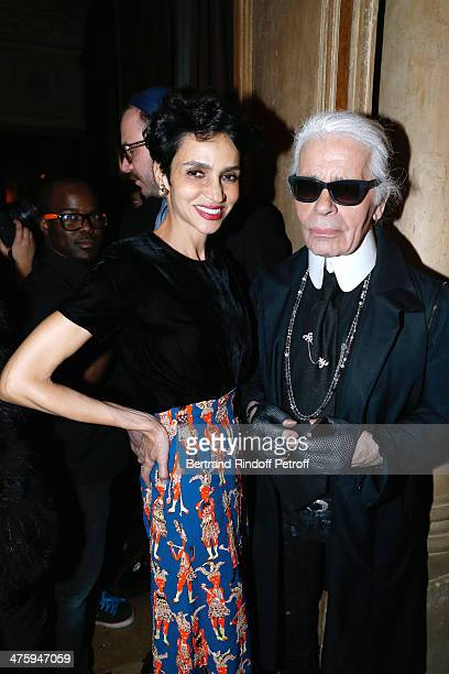 Actress Farida Khelfa and Fashion desugner Karl Lagerfeld attending the Cocktail Dinatoire of German VOGUE in honor of Mario Testino at Restaurant...