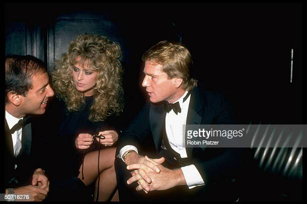 Actress Farrah Fawcett with Studio 54 owner Steve Rubell and her boyfriend Ryan O'Neal