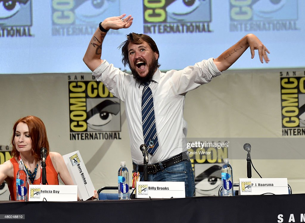 Actress Felicia Day and actor Wil Wheaton speak onstage during 'Con Man' The Fan Revolt 13 Years In The Making panel during ComicCon International...