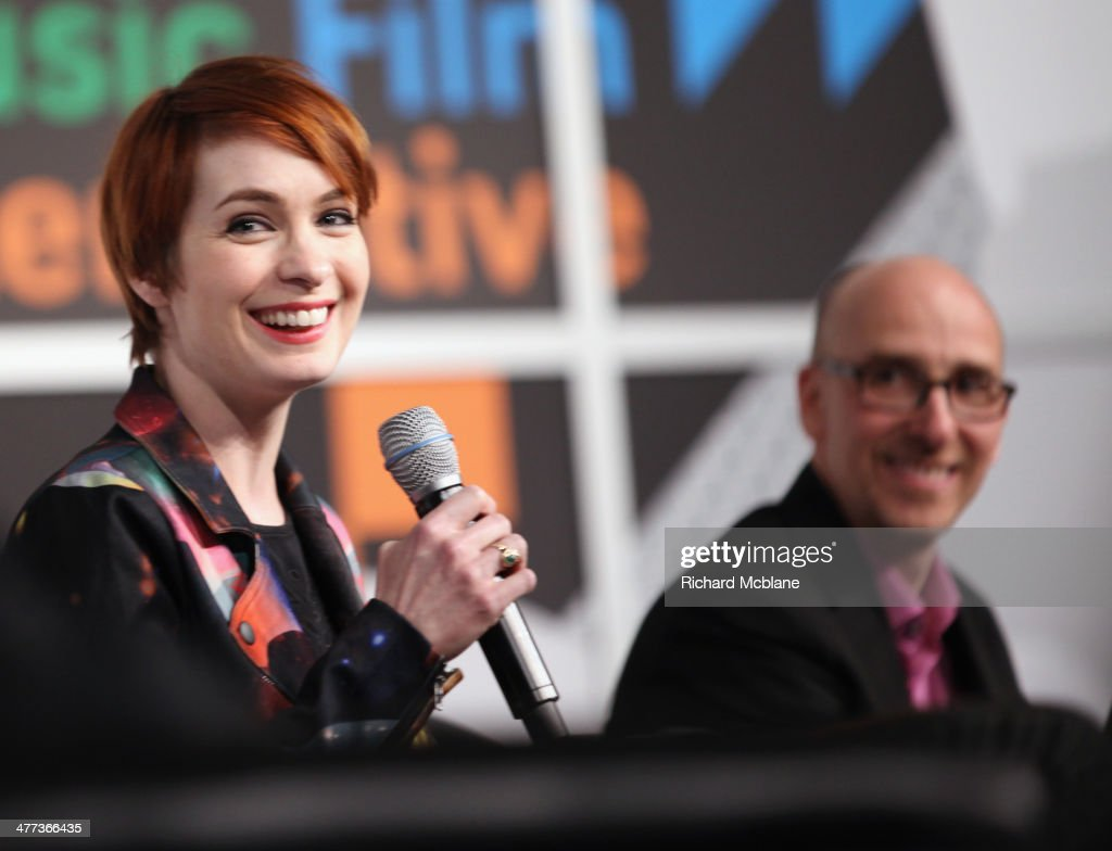 Actress Felicia Day and cocreator Brian Turtle speak onstage at '6 Degrees of Kevin Bacon A Social Phenomenon Turns 20' during the 2014 SXSW Music...