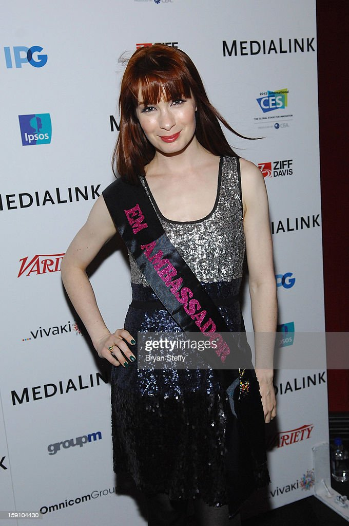 Actress <a gi-track='captionPersonalityLinkClicked' href=/galleries/search?phrase=Felicia+Day&family=editorial&specificpeople=2499112 ng-click='$event.stopPropagation()'>Felicia Day</a> arrives at the MediaLink CES Kickoff event at the Tryst nightclub at Wynn Las Vegas on January 7, 2013 in Las Vegas, Nevada.