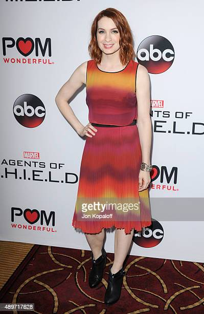 Actress Felicia Day arrives at the Premiere Of Marvel's 'Agents Of SHIELD' at Pacific Theatre at The Grove on September 23 2015 in Los Angeles...