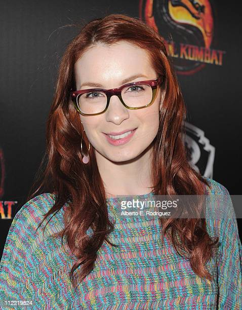 Actress Felicia Day arrives to the unleashing of Warner Bros' 'Mortal Kombat Legacy' at Saint Felix II on April 14 2011 in Hollywood California