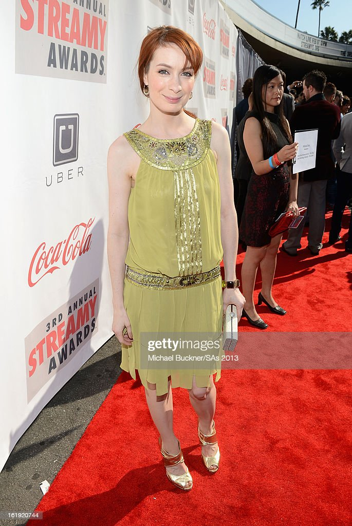 Actress <a gi-track='captionPersonalityLinkClicked' href=/galleries/search?phrase=Felicia+Day&family=editorial&specificpeople=2499112 ng-click='$event.stopPropagation()'>Felicia Day</a> attends the 3rd Annual Streamy Awards at Hollywood Palladium on February 17, 2013 in Hollywood, California.