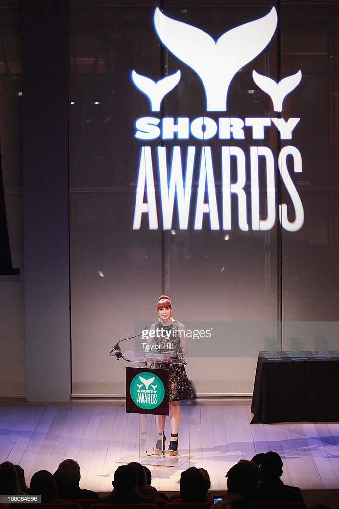 Actress <a gi-track='captionPersonalityLinkClicked' href=/galleries/search?phrase=Felicia+Day&family=editorial&specificpeople=2499112 ng-click='$event.stopPropagation()'>Felicia Day</a> hosts the 2013 Shorty Awards at Times Center on April 8, 2013 in New York City.
