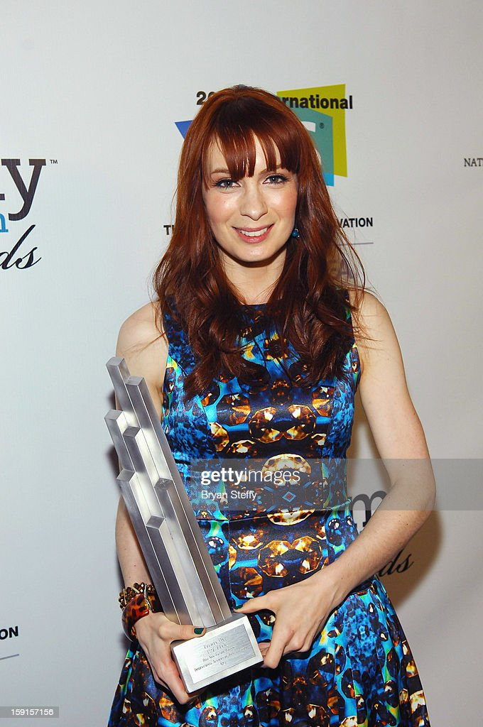 Actress <a gi-track='captionPersonalityLinkClicked' href=/galleries/search?phrase=Felicia+Day&family=editorial&specificpeople=2499112 ng-click='$event.stopPropagation()'>Felicia Day</a> poses with the IAWTV award for 'The Flog' Best Non Fiction Writing Award at the IAWTV Awards at the CES 2013 Show at the Palazzo Theater at the Palazzo Resort Hotel/Casino on January 8, 2013 in Las Vegas, Nevada.