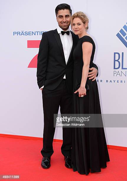 Actress Felicitas Woll and her boyfriend Emrah Karacok arrive at the taping of the 'Bayerischer Fernsehpreis 2014' at Prinzregententheater on May 23...