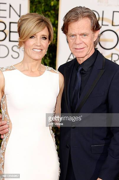 Actress Felicity Huffman and actor William H Macy attend the 72nd Annual Golden Globe Awards at The Beverly Hilton Hotel on January 11 2015 in...