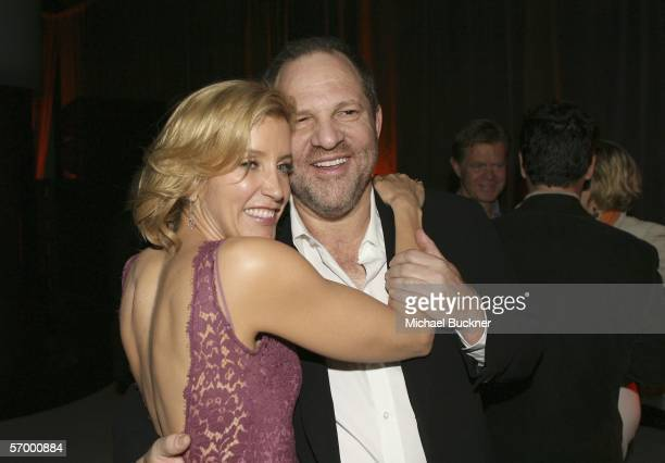 Actress Felicity Huffman and producer Harvey Weinstein attend the Weinstein Co PreOscar Party at the Pacific Design Center on March 4 2006 in Los...