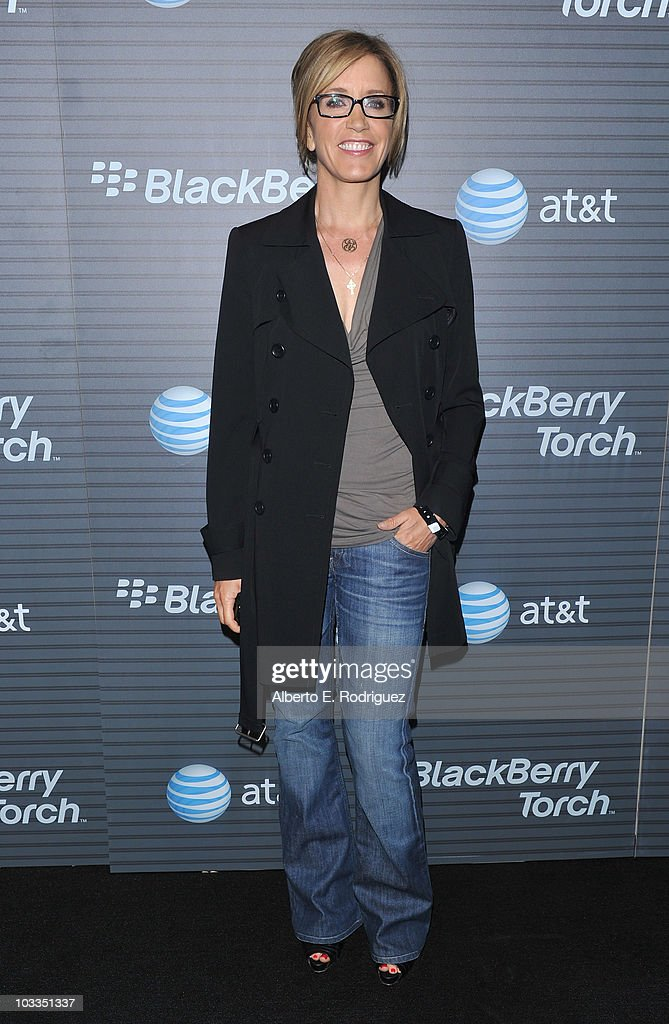 Actress Felicity Huffman rarrives at the Blackberry Torch launch party on August 11 2010 in Los Angeles California