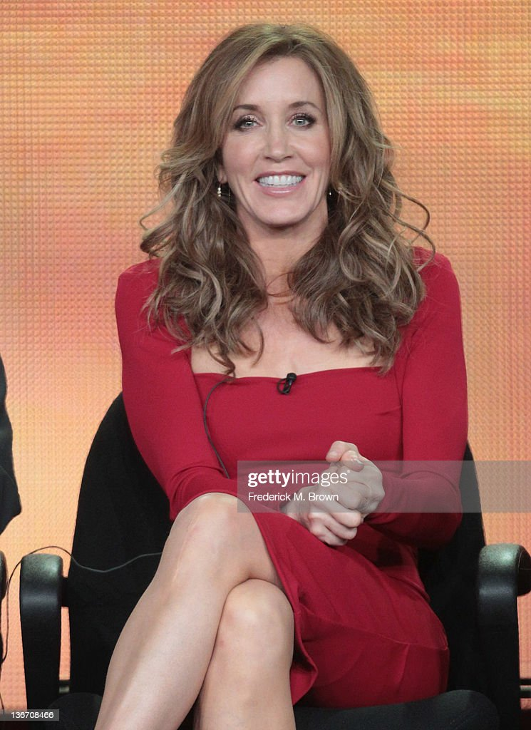 Actress <a gi-track='captionPersonalityLinkClicked' href=/galleries/search?phrase=Felicity+Huffman&family=editorial&specificpeople=201903 ng-click='$event.stopPropagation()'>Felicity Huffman</a> speaks during the 'Desperate Housewives' panel during the ABC portion of the 2012 Winter TCA Tour held at The Langham Huntington Hotel and Spa on January 10, 2012 in Pasadena, California.