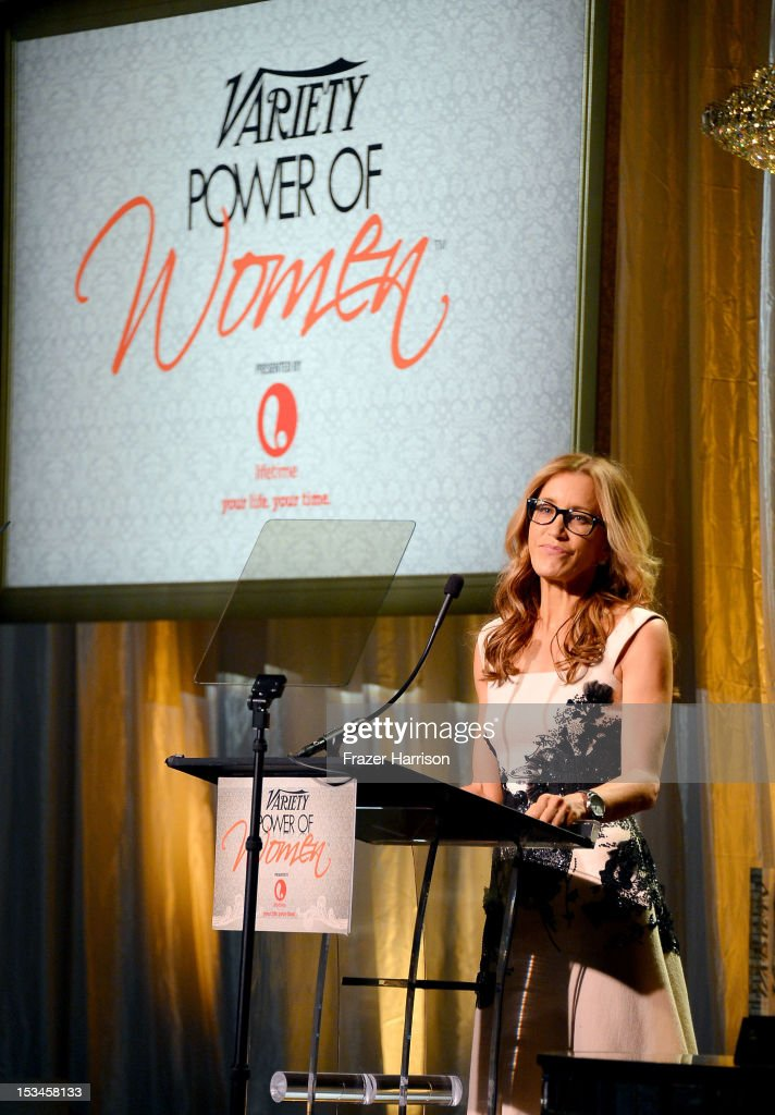 Actress <a gi-track='captionPersonalityLinkClicked' href=/galleries/search?phrase=Felicity+Huffman&family=editorial&specificpeople=201903 ng-click='$event.stopPropagation()'>Felicity Huffman</a> speaks onstage during Variety's 4th Annual Power of Women Event Presented by Lifetime at the Beverly Wilshire Four Seasons Hotel on October 5, 2012 in Beverly Hills, California.