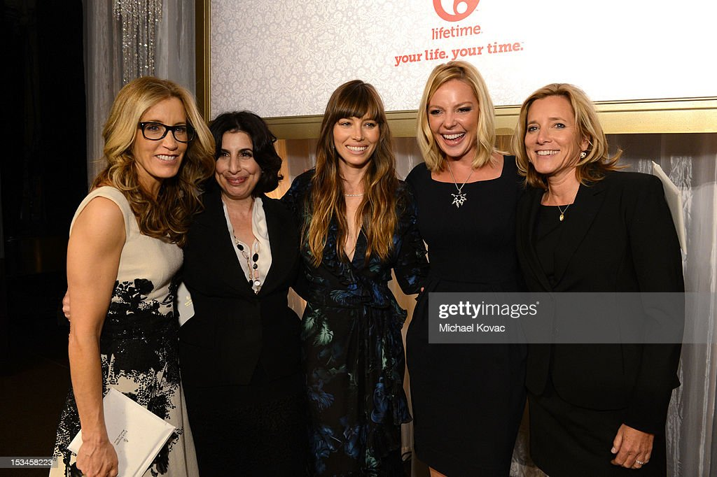 Actress <a gi-track='captionPersonalityLinkClicked' href=/galleries/search?phrase=Felicity+Huffman&family=editorial&specificpeople=201903 ng-click='$event.stopPropagation()'>Felicity Huffman</a>, Warner Bros. President of Worldwide Marketing <a gi-track='captionPersonalityLinkClicked' href=/galleries/search?phrase=Sue+Kroll&family=editorial&specificpeople=2358964 ng-click='$event.stopPropagation()'>Sue Kroll</a>, actresses <a gi-track='captionPersonalityLinkClicked' href=/galleries/search?phrase=Jessica+Biel&family=editorial&specificpeople=203011 ng-click='$event.stopPropagation()'>Jessica Biel</a>, <a gi-track='captionPersonalityLinkClicked' href=/galleries/search?phrase=Katherine+Heigl&family=editorial&specificpeople=206952 ng-click='$event.stopPropagation()'>Katherine Heigl</a>, and Lifetime's Nina Lederman attend Variety's 4th Annual Power of Women Event Presented by Lifetime at the Beverly Wilshire Four Seasons Hotel on October 5, 2012 in Beverly Hills, California.