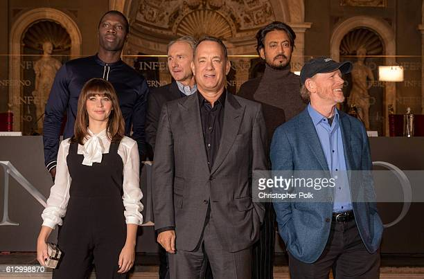 Actress Felicity Jones actor Omar Sy author Dan Brown actor Tom Hanks actor Irrfan Khan and director Ron Howard attend the INFERNO Photo Call Press...