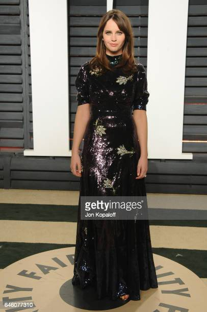 Actress Felicity Jones arrives at the 2017 Vanity Fair Oscar Party Hosted By Graydon Carter at Wallis Annenberg Center for the Performing Arts on...