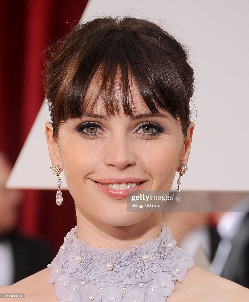 Actress Felicity Jones arrives at the 87th Annual Academy Awards at Hollywood Highland Center on February 22 2015 in Hollywood California