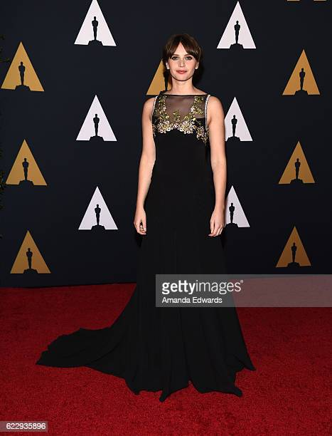Actress Felicity Jones arrives at the Academy of Motion Picture Arts and Sciences' 8th Annual Governors Awards at The Ray Dolby Ballroom at Hollywood...
