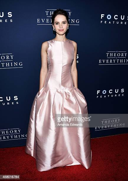 Actress Felicity Jones arrives at the Los Angeles premiere of 'The Theory Of Everything' at the AMPAS Samuel Goldwyn Theater on October 28 2014 in...