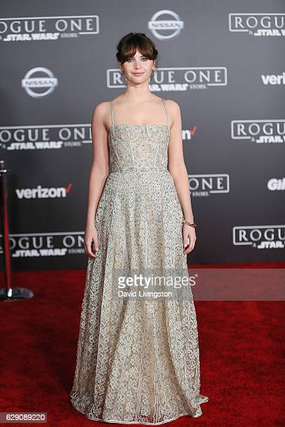 Actress Felicity Jones arrives at the premiere of Walt Disney Pictures and Lucasfilm's 'Rogue One A Star Wars Story' at the Pantages Theatre on...