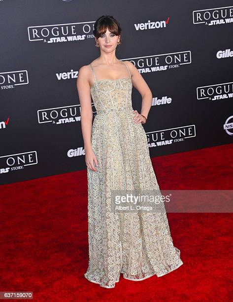 Actress Felicity Jones arrives for the Premiere Of Walt Disney Pictures And Lucasfilm's 'Rogue One A Star Wars Story' held at the Pantages Theatre on...