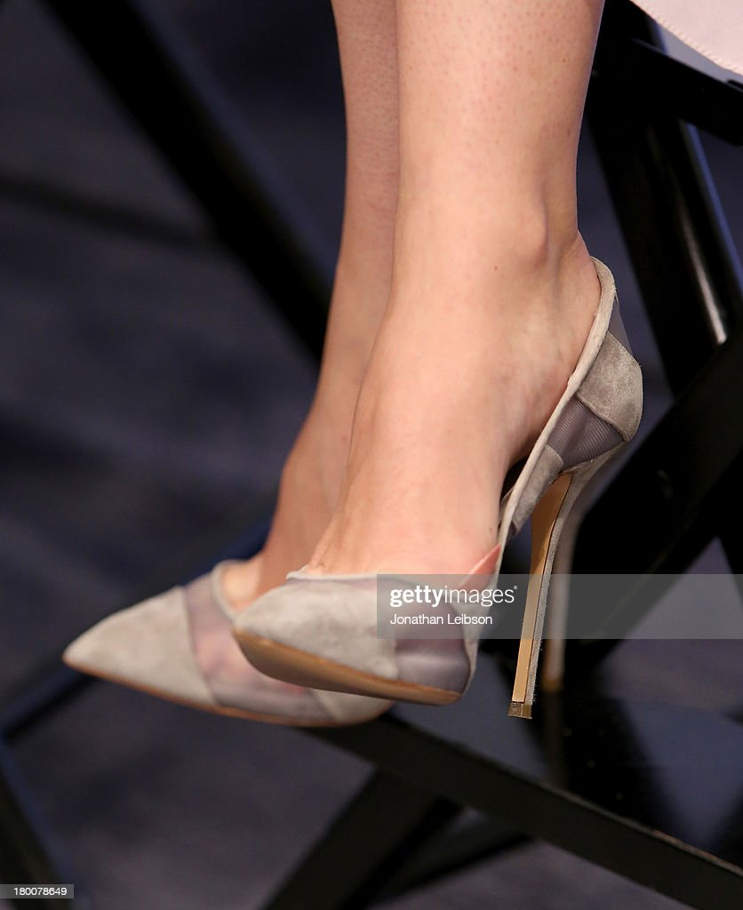 Actress Felicity Jones (shoe detail) at the Variety Studio At Holt Renfrew during the 2013 Toronto International Film Festival on September 8, 2013 in Toronto, Canada.