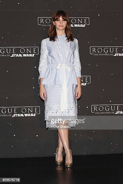 Actress Felicity Jones attends a press conference and photocall to promote the film 'Rogue One A Star Wars Story' at St Regis Hotel on November 22...