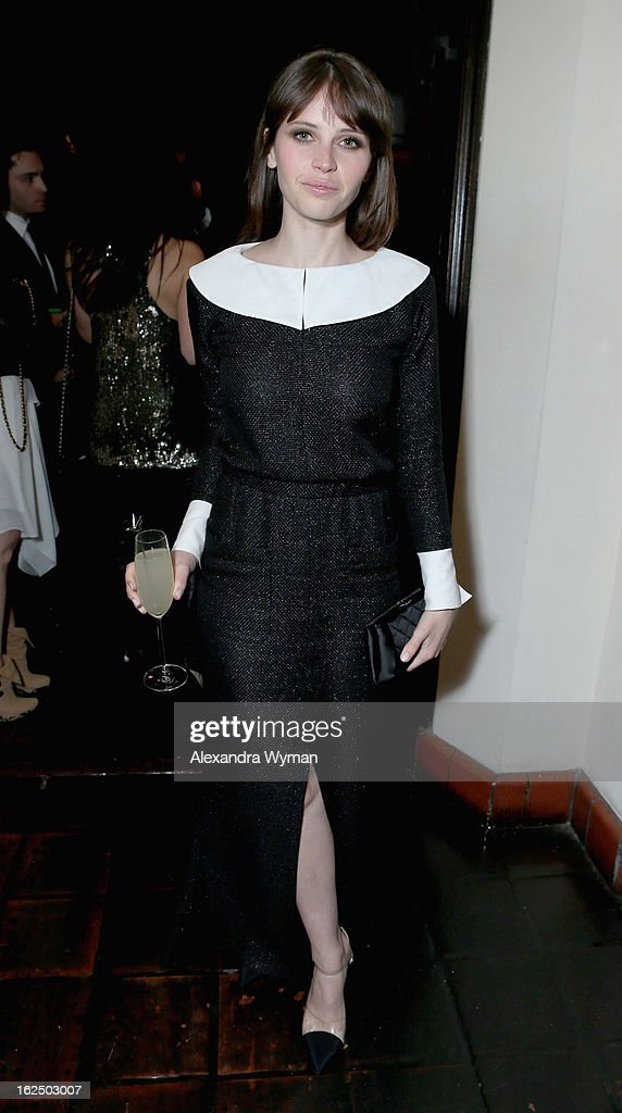 Actress Felicity Jones attends GREY GOOSE Pre-Oscar Party hosted by Michael Sugar, Doug Wald, Nathan Kahane and Warren Zavala at Chateau Marmont on February 23, 2013 in Los Angeles, California.