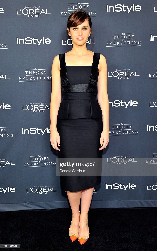 Actress Felicity Jones attends InStyle Focus Features 2015 Golden Globe Nominations party for 'The Theory Of Everything' at Chateau Marmont on...