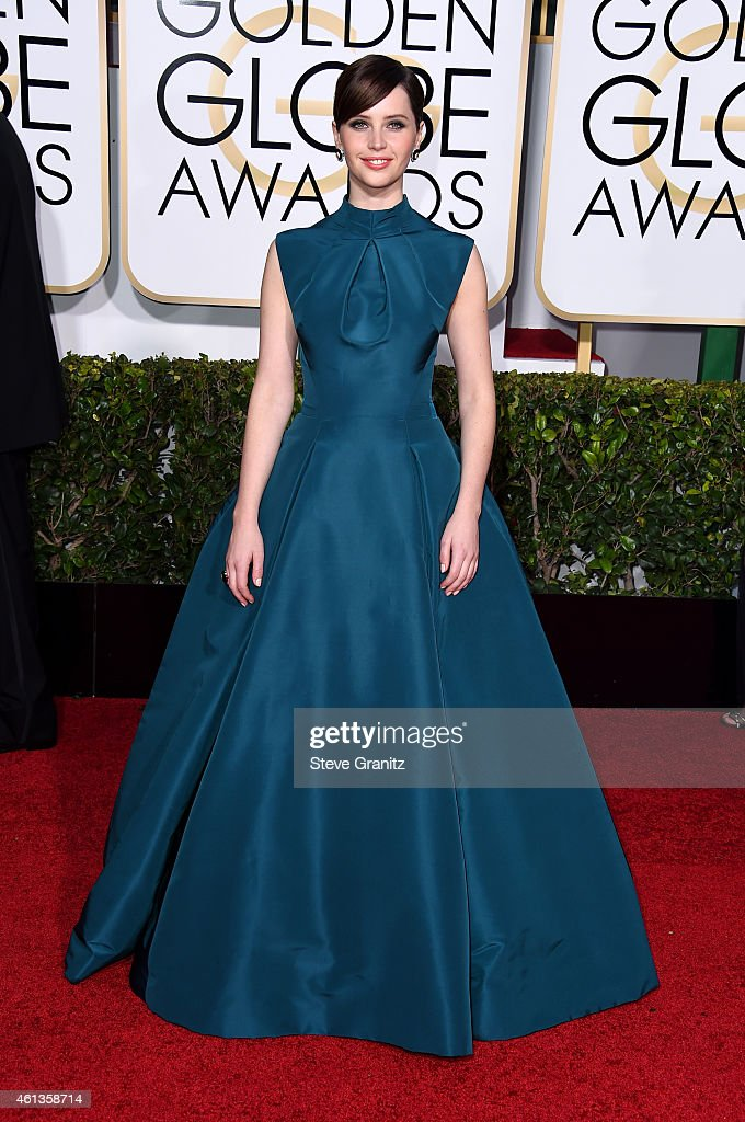 Actress Felicity Jones attends the 72nd Annual Golden Globe Awards at The Beverly Hilton Hotel on January 11 2015 in Beverly Hills California