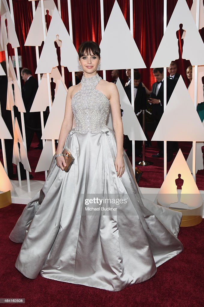 Actress Felicity Jones attends the 87th Annual Academy Awards at Hollywood & Highland Center on February 22, 2015 in Hollywood, California.