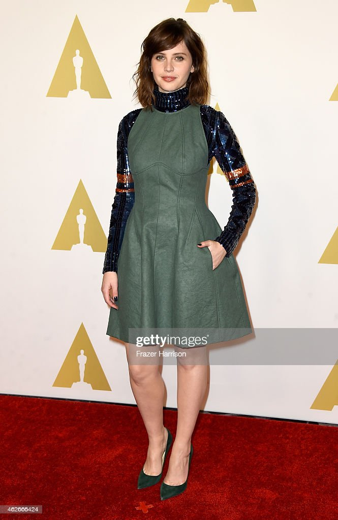 Actress Felicity Jones attends the 87th Annual Academy Awards Nominee Luncheon at The Beverly Hilton Hotel on February 2 2015 in Beverly Hills...