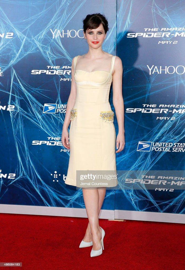 Actress <a gi-track='captionPersonalityLinkClicked' href=/galleries/search?phrase=Felicity+Jones&family=editorial&specificpeople=5128418 ng-click='$event.stopPropagation()'>Felicity Jones</a> attends 'The Amazing Spider-Man 2' premiere at the Ziegfeld Theater on April 24, 2014 in New York City.
