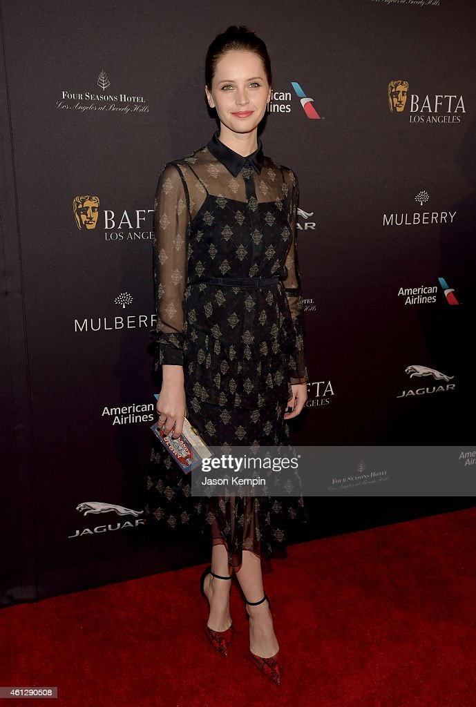Actress Felicity Jones attends the BAFTA Los Angeles Tea Party at The Four Seasons Hotel Los Angeles At Beverly Hills on January 10 2015 in Los...