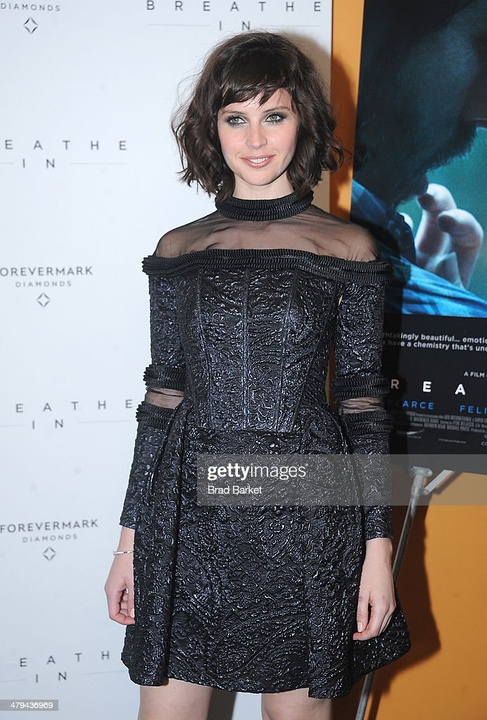 Actress Felicity Jones attends the 'Breathe In' premiere at Sunshine Landmark on March 18, 2014 in New York City.