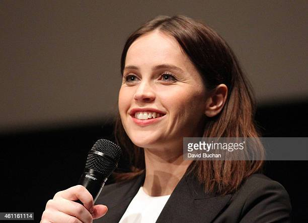 Actress Felicity Jones attends The Contenders Screening and QA of 'The Theory of Everything' at Billy Wilder Theater at The Hammer Museum on January...