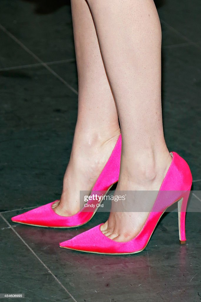 Actress <a gi-track='captionPersonalityLinkClicked' href=/galleries/search?phrase=Felicity+Jones&family=editorial&specificpeople=5128418 ng-click='$event.stopPropagation()'>Felicity Jones</a> (shoe detail) attends 'The Invisible Woman' New York Premiere at Museum of Modern Art on December 9, 2013 in New York City.