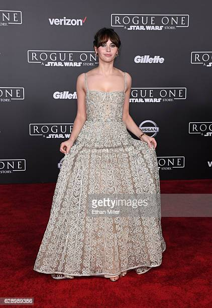 Actress Felicity Jones attends the premiere of Walt Disney Pictures and Lucasfilm's 'Rogue One A Star Wars Story' at the Pantages Theatre on December...