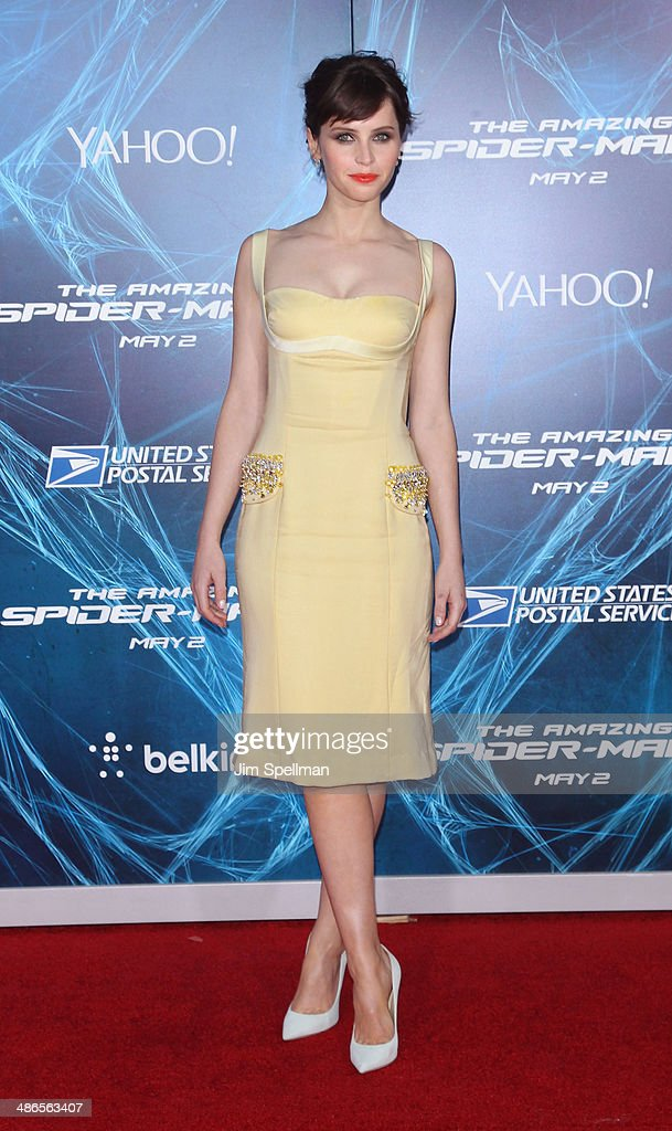 Actress <a gi-track='captionPersonalityLinkClicked' href=/galleries/search?phrase=Felicity+Jones&family=editorial&specificpeople=5128418 ng-click='$event.stopPropagation()'>Felicity Jones</a> attends the 'The Amazing Spider-Man 2' New York Premiere on April 24, 2014 in New York City.