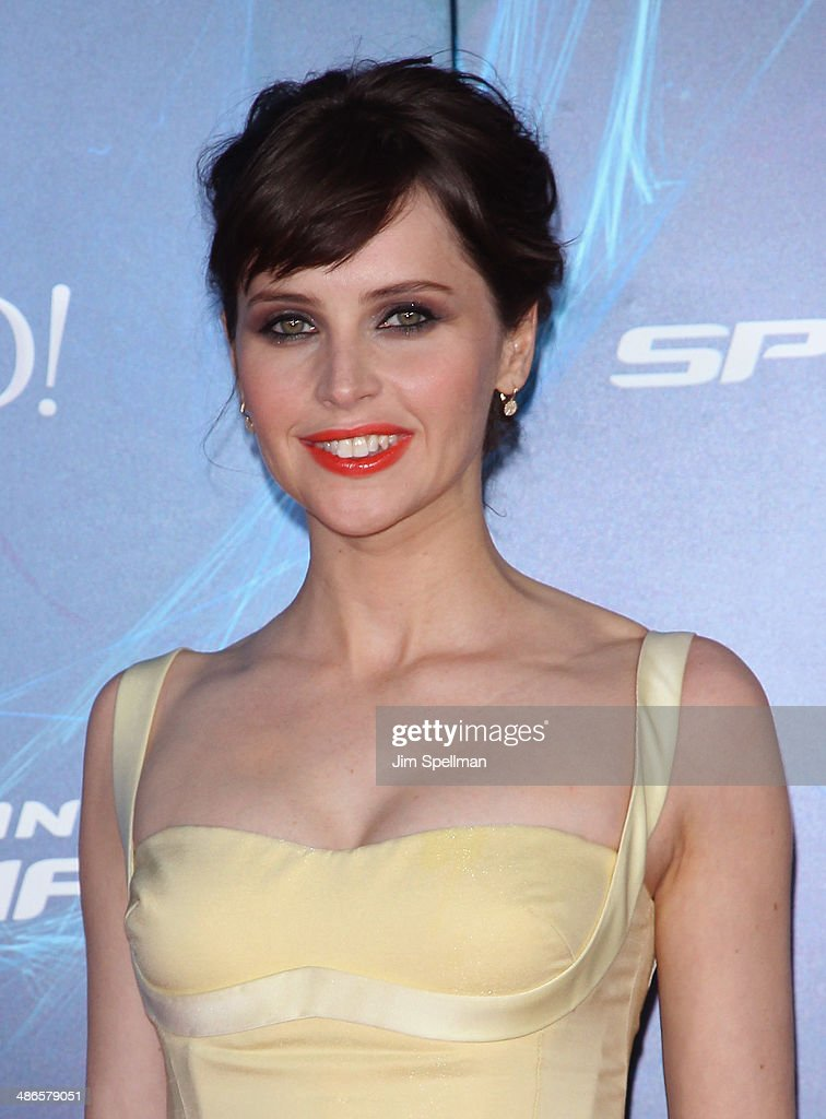 Actress Felicity Jones attends the 'The Amazing Spider-Man 2' New York Premiere on April 24, 2014 in New York City.