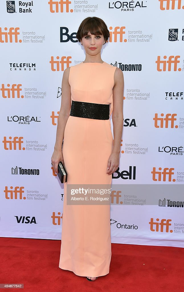 Actress Felicity Jones attends 'The Theory Of Everything' premiere during the 2014 Toronto International Film Festival at Princess of Wales Theatre...
