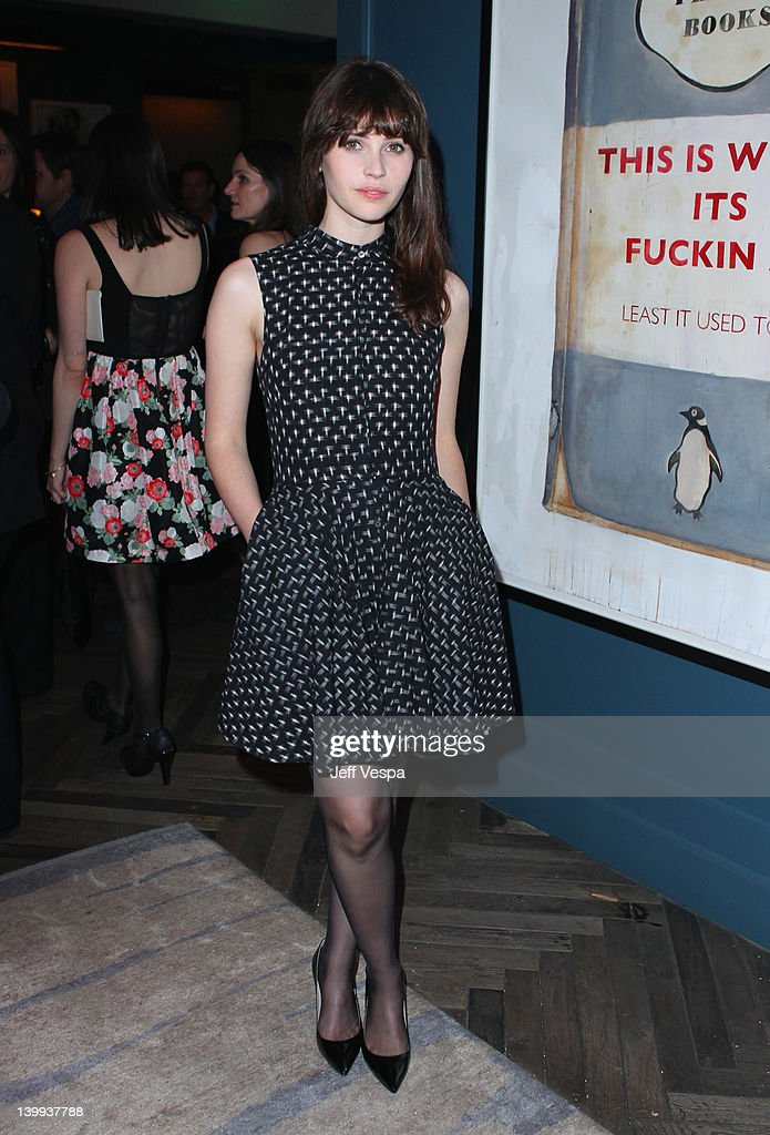 Actress <a gi-track='captionPersonalityLinkClicked' href=/galleries/search?phrase=Felicity+Jones&family=editorial&specificpeople=5128418 ng-click='$event.stopPropagation()'>Felicity Jones</a> attends The Weinstein Company Celebrates The 2012 Academy Awards Presented By Chopard held at Soho House on February 25, 2012 in West Hollywood, California.